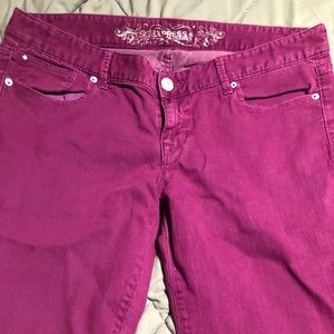 Express low rise colored jeans
